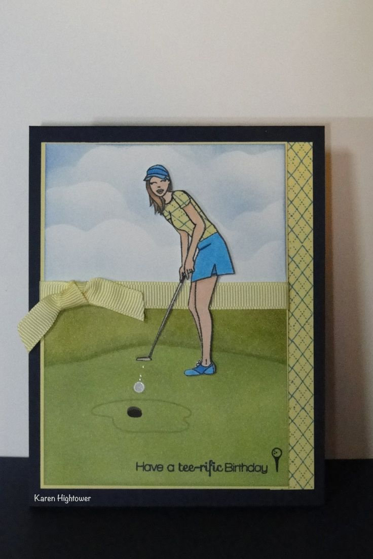 This Birthday card is made with the Golf Diva set by Debbie Corbari, for the April Stamp TV Release.