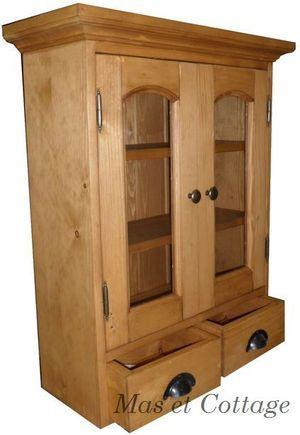 element à suspendre de cuisine en pin massif ANGLAIS . element haut de cuisine d' autrefois . vaste choix de couleurs . 2 portes et 2 tiroirs .