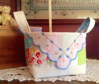 Repurposed vintage hankie and linen basket with Sugar Flower and Ruby