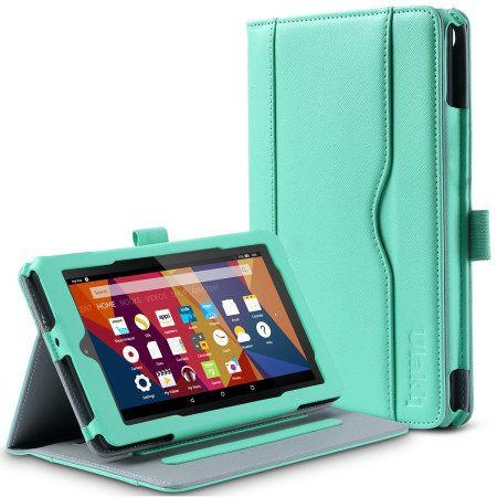 ULAK Kindle Fire 7 2015 PU Leather Case, Flip Cover Folio Sleeve Design w/ Protective Shell for Amazon Kindle Fire 7' 5th Generation 2015 (Mint Green)