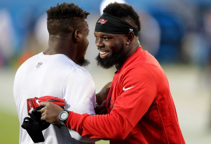 Monday Night Football: Buccaneers vs. Panthers:     October 10, 2016, 17-14, Buccaneers  -       Jonathan Stewart of the Carolina Panthers and Adarius Glanton of the Tampa Bay Buccaneers greet each other during warmups before their game at Bank of America Stadium on Oct. 10, 2016 in Charlotte, N.C.