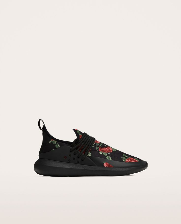 Image 6 of BLACK FLORAL SNEAKERS from Zara