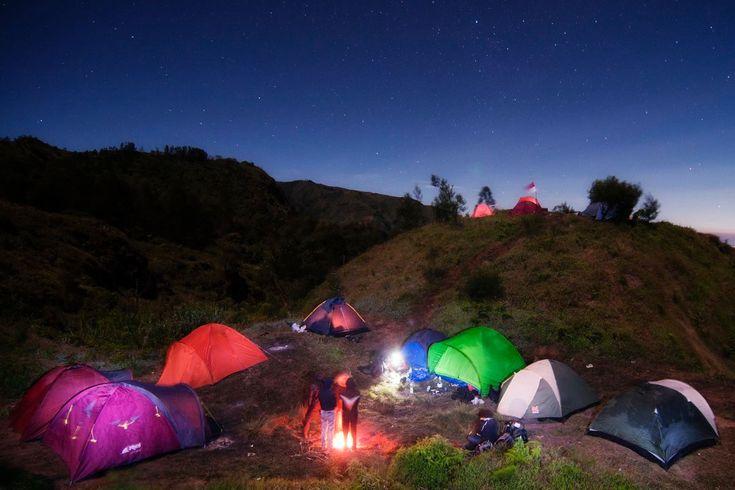 hiking-camping at  Dieng Plateau, in Java, Indonesia, Bukit Di Atas Awan