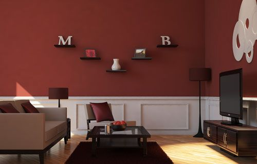 This gives me ideas to help incorporate maroon into a regular room. I love the maroon wall and the accents.