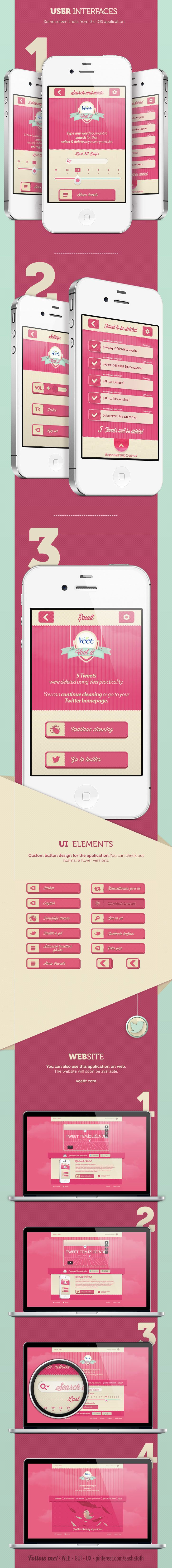 "Veet-it *** ""Veet-it is a practical application which you log in using your twitter account. Veet-it is available on IOS, Android and on Web."" by Awesome Broduction, on Behance *** #app #iphone #android #ux #ui #gui"