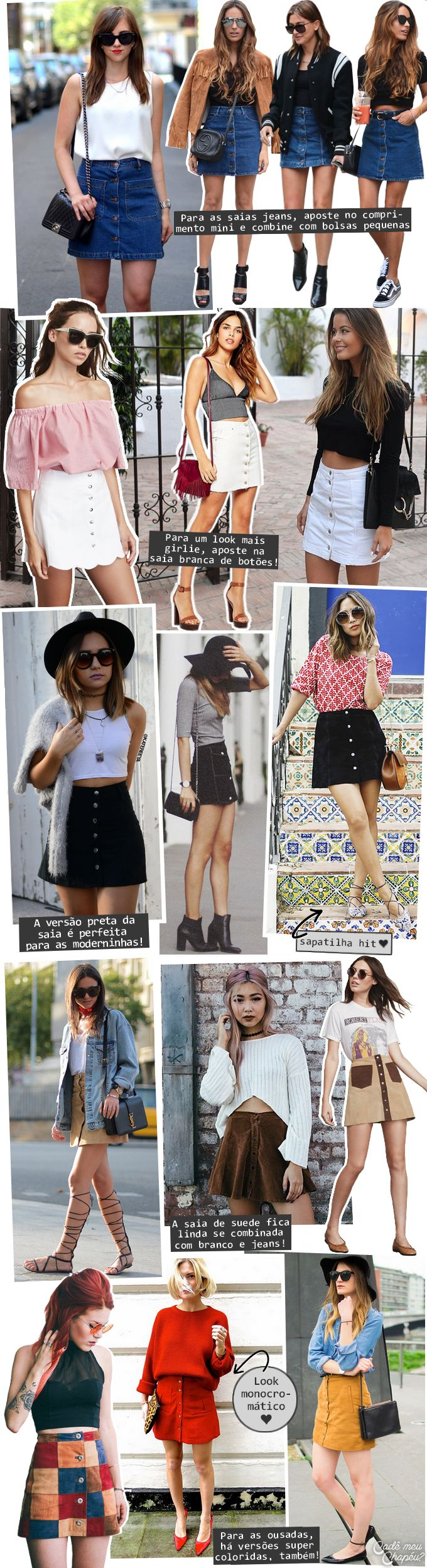 Button skirt | Button down skirt | Saia de botões | Suede skirt | http://cademeuchapeu.com