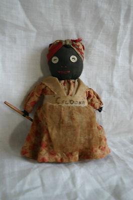 Antique GOLLIWOG BLACK AMERICANA CLOTH RAG DOLL Button eyes $ 19.95