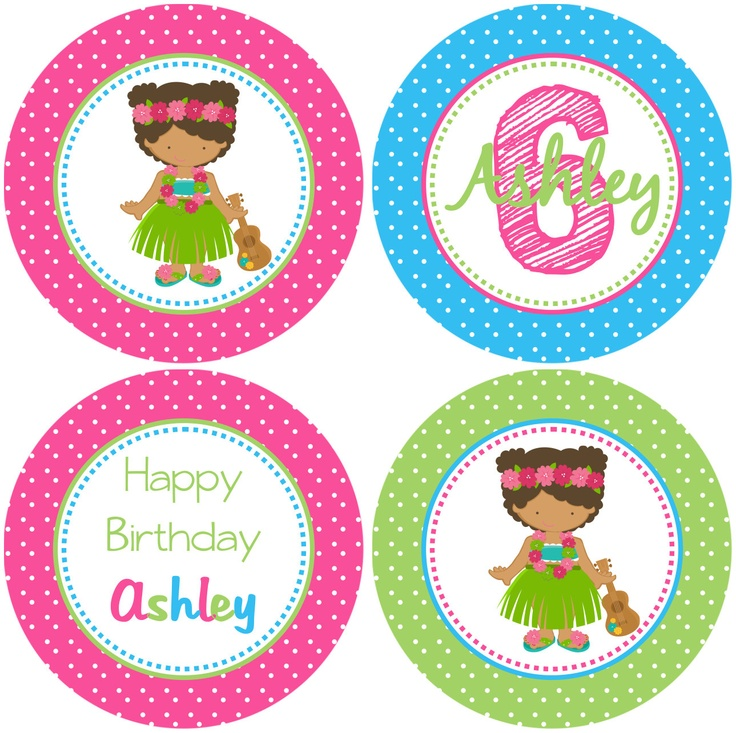 DIY - Hula Girl Luau  Birthday Cupcake Toppers- Coordinating Items Available. $3.95, via Etsy.