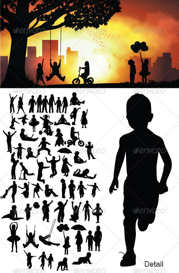Children Silhouettes  #GraphicRiver. In this files include AI and EPS versions. You can open it with Adobe Illustrator CS and other vector supporting applications. I hope you like my design, thanks  	 visit my silhouettes collection graphicriver /collections/3119286-silhouettes