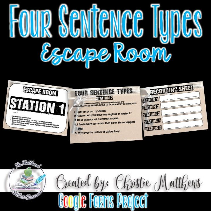 Four Sentence Type Escape Room - Use this as a review or pre-assessment for the four sentence types (declarative, exclamatory, interrogative, and imperative).