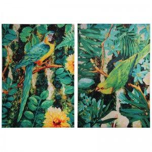 Set of 2 Silk Parrot Art Pieces.