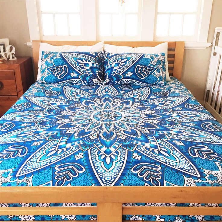 Indian Full Queen Size Bed Cover Mandala Bed Sheet Hippie Bohemian Bedding set #Handmade #Mandala #DuvetCoverQuiltCoverBlanketThrows
