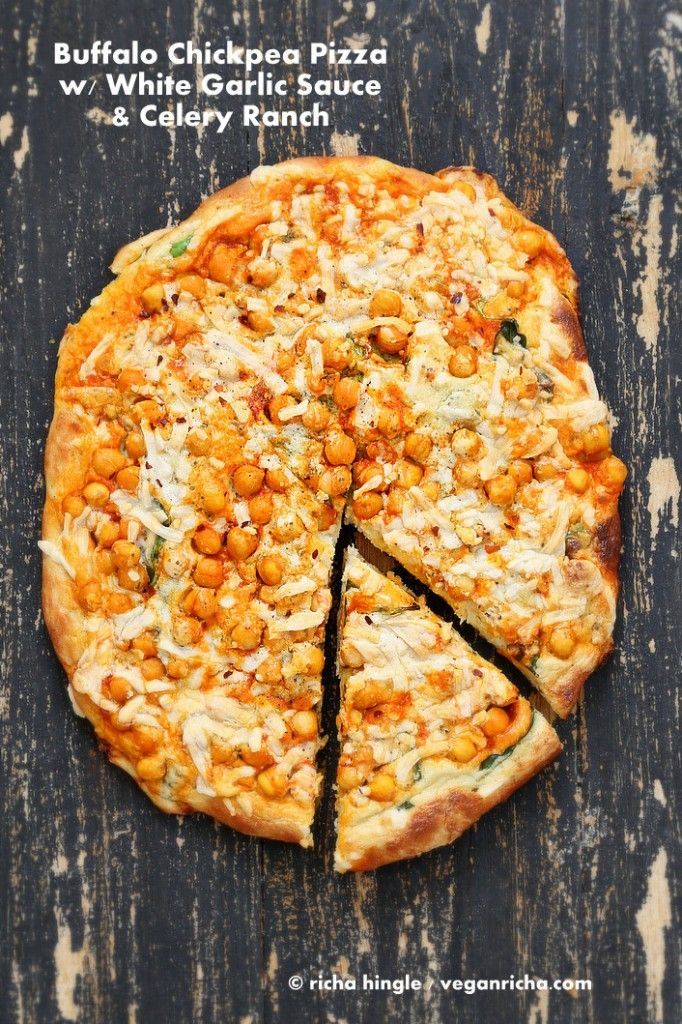 Buffalo Chickpea Pizza with White Garlic Sauce and Celery Ranch Dressing for Vegan Pizza Day!