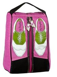 Sydney Love Pink Golf Shoe Bag Sydney Love golf shoe bags blend flair with stylish sophistication.  The golf shoe design is taken from a handpainted collage and fully lined with their classic Sydney L
