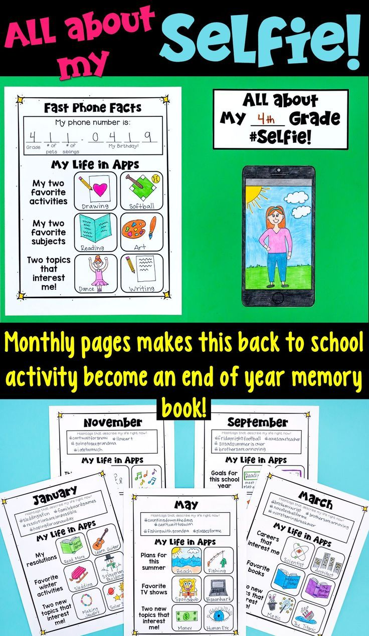 Back to School Selfie Craftivity- This resource provides a great bulletin board to start the year. Furthermore, it contains a memory page for each month of the school year. At the end of the year, students have compiled an incredible memory book!