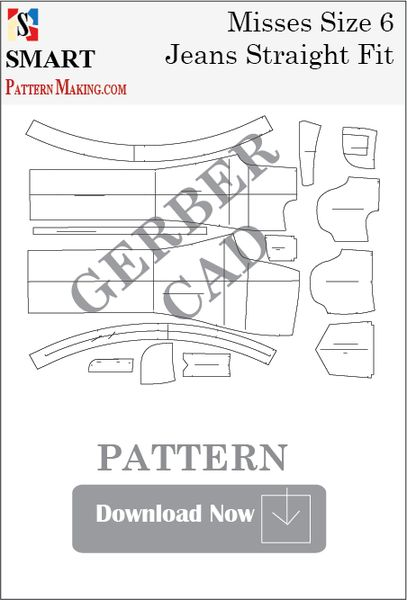 Gerber CAD Misses Jeans Straight Fit Sewing Pattern