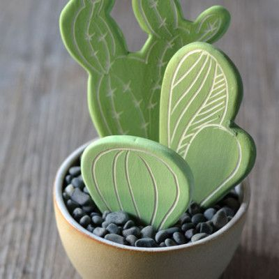 Polymer clay inspiration- Cactus Pot by Kim Wallace Ceramics / green (white clay)