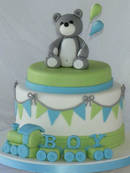 Green and Blue Choo Choo Bunting Baby Boy Cake with Bear Holding Balloons Topper