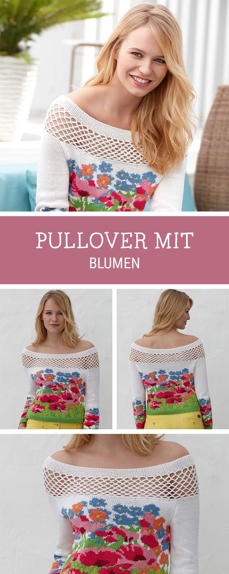 Strickanleitung für einen Off-Shoulder Pullover mit aufwändigem Blumenmuster / knitting pattern for an off shoulder sweater with floral print via DaWanda.com