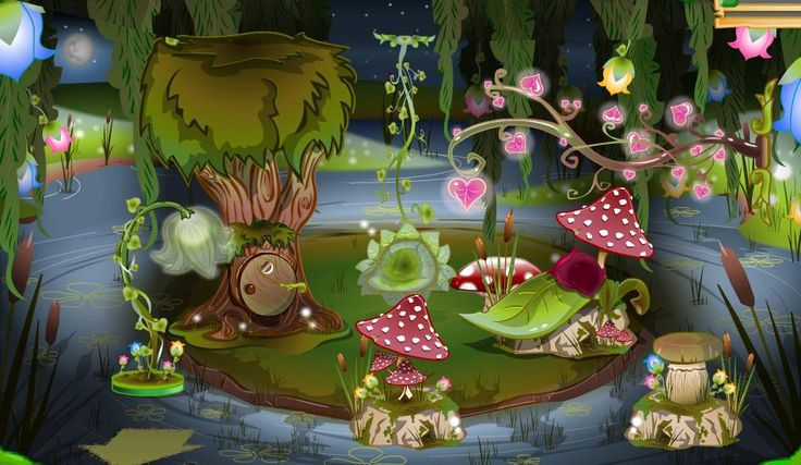 Forest party | Enchanted Forest Items with Willow Pond background