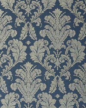 Barok behang hoogwaardig EDEM 752-37 damasten vinylbehang met reliëfstructuur blauw platina grijs