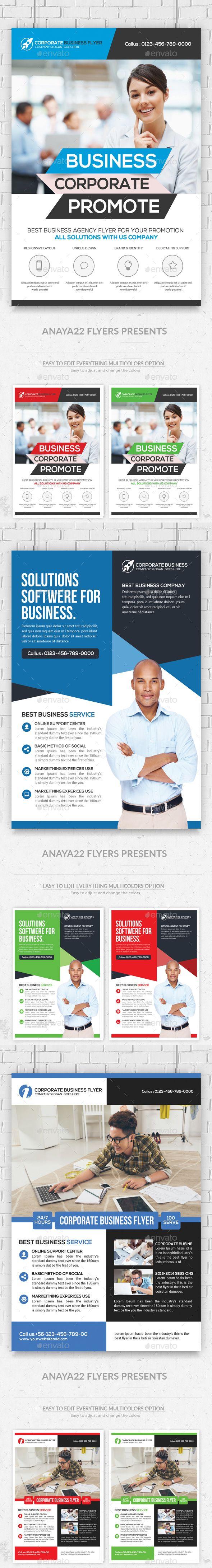Business Flyers Bundle Template PSD #design Download: http://graphicriver.net/item/business-flyers-bundle/13633085?ref=ksioks