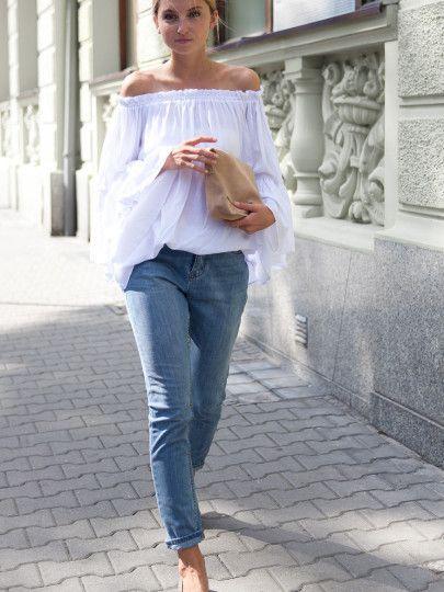 Blusa holgada encaje hombro al aire-blanco-Spanish SheIn(Sheinside) Sitio Móvil