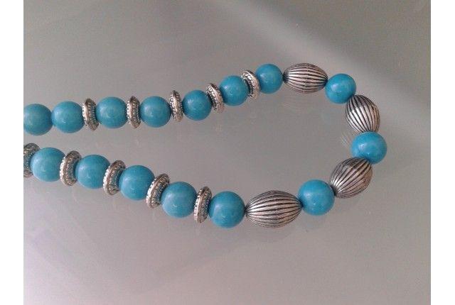 collana giada azzurra liscia e perle color metallo argento anticato