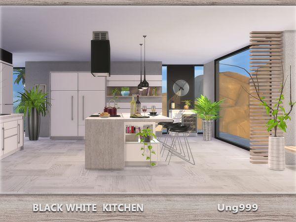 ungg999u0027s Schwarz Weiß Küche Sims 4 Pinterest Sims and Kitchens - küche schwarz weiß