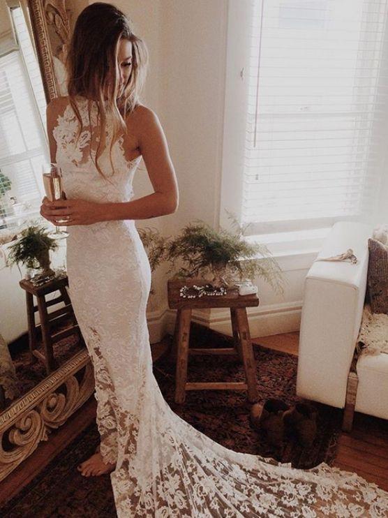 White Wedding Dresses, Long Wedding Dresses, Long White Wedding Dresses With Lace Sweep/Brush High Neck Sale Online WF01G48-110