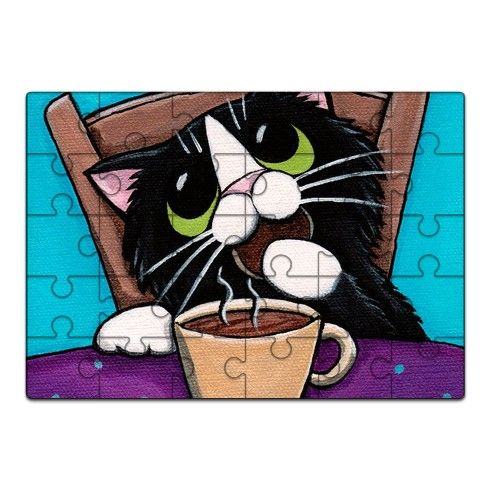 Tea Break Cat Jigsaw by lisamarierobinson at zippi.co.uk