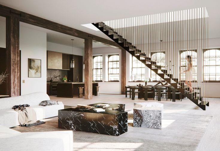Best Hanging Staircase Divides Spacious New York Loft Design By Djds New York City Loft By Djds 400 x 300