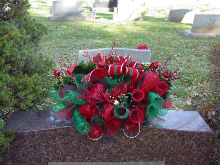 Christmas Deco Mesh Cemetery Saddle Grave Headstone Memorial