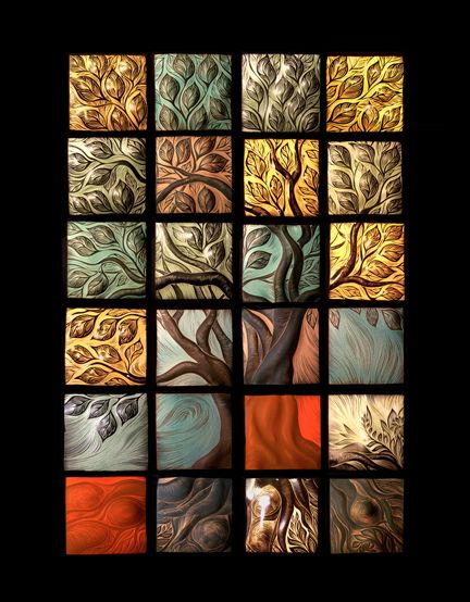 Tree of Life ceramic tile mosaic.....would be beautiful as a kitchen back splash or on a bathroom wall.