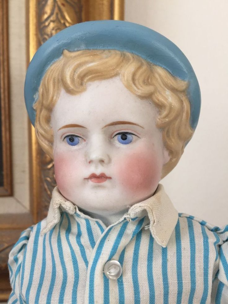 This lovely rare molded hat version of an antique Parian head doll is just wonderful. He has very nice facial coloring. Upon close inspection with a bright light and magnification I did find what appears to be a repaint restoration to the shoulder plate. | eBay!