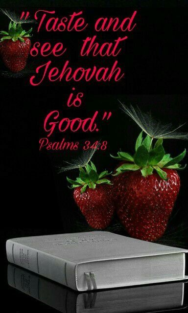 """Taste and see that Jehovah is good; Happy is the man who takes refuge in him.""  Ps. 34:8."