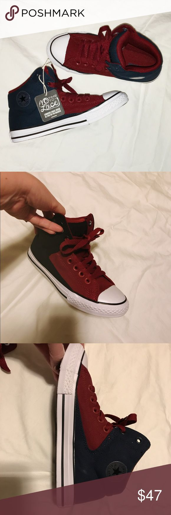 Converse slip one juniors sneakers Converse slip on no time to lace sneakers. Burgundy, navy blue and white. Converse Shoes Sneakers