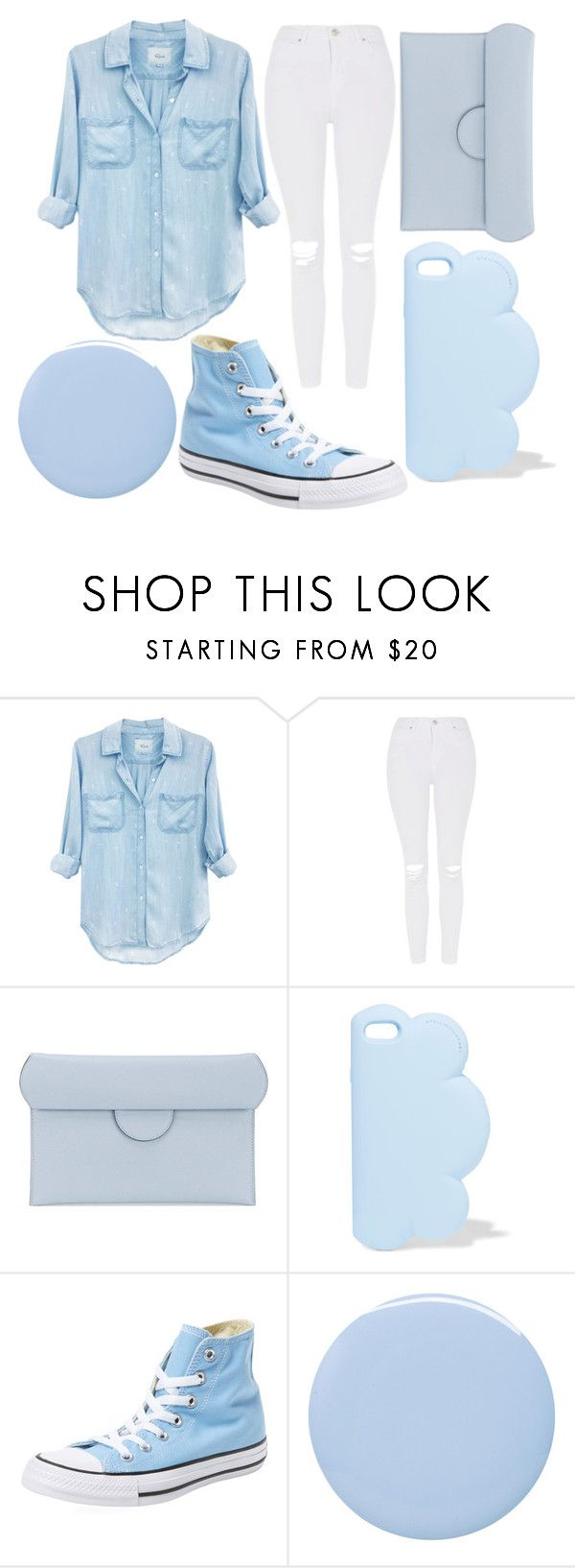 """Baby Blue"" by kaitlyn-ashby101 ❤ liked on Polyvore featuring Rails, Topshop, Roksanda, STELLA McCARTNEY, Converse and Deborah Lippmann"