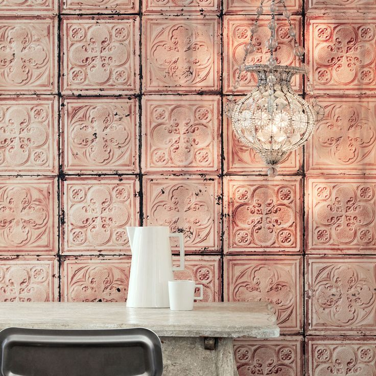 Brooklyn Tins Wallpaper by Merci | Vintage tin tiles turned into fool-the-eye wallpaper designs from Merci and NLXL