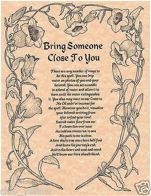 BRING SOMEONE CLOSE TO YOU Real Witchcraft Spell Book of Shadows Page BOS Pages