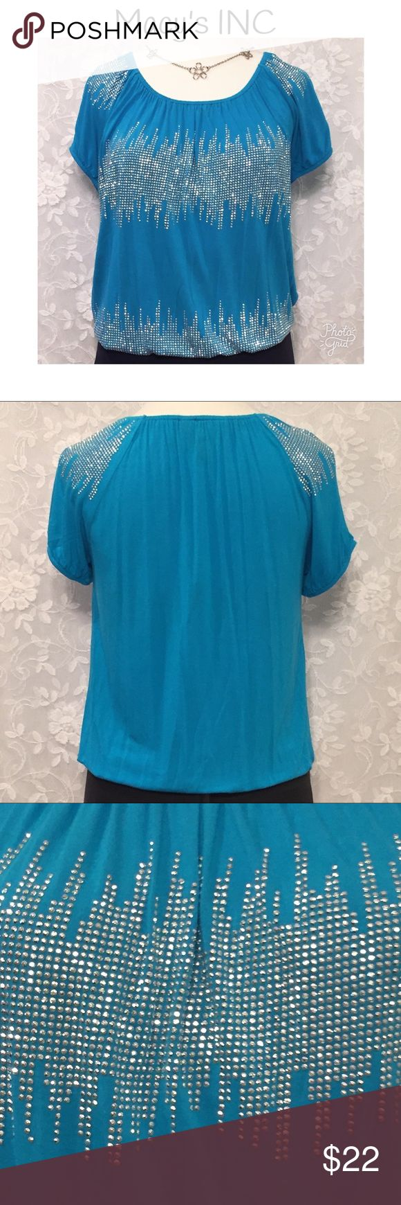 "SUPER CUTE MACY'S INC BLINGY BLOUSE! Super cute Macy's INC blouse!  Turquoise color. Rhinestone grommets! Elastic around neckline, bottom, and sleeves for added cuteness! Short sleeves.  Fabric is 100% rayon. Measurements: chest-44"", waist-44"", bottom-34"", length-25"".  Excellent used condition!  Necklace not for sale! INC International Concepts Tops Blouses"