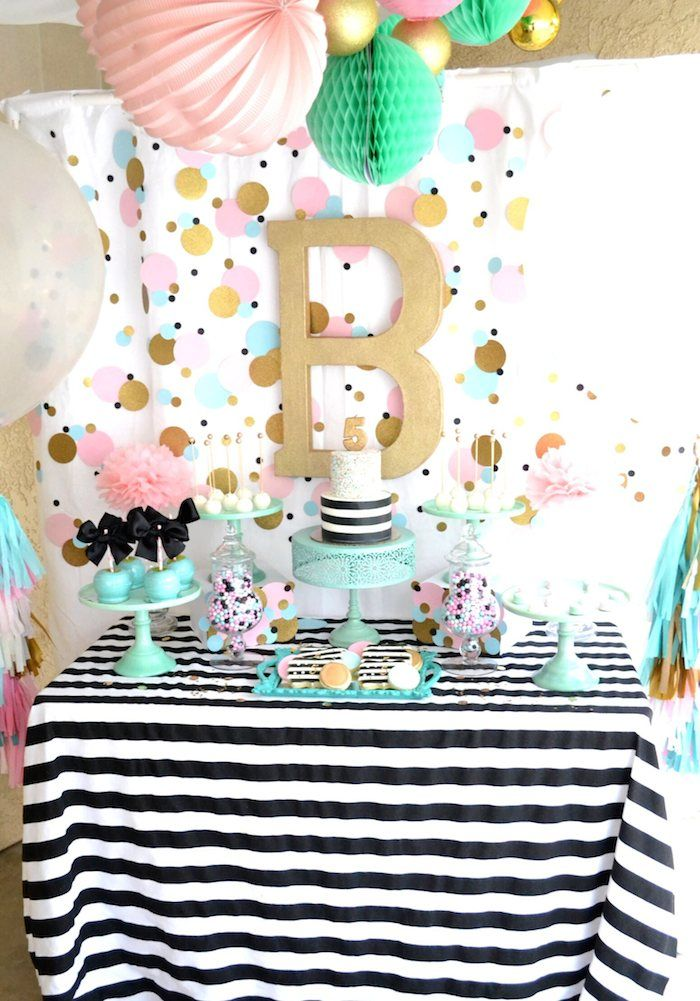 Cue The Confetti themed birthday party via Kara's Party Ideas KarasPartyIdeas.com Cake, printables, desserts, banners, garlands, recipes, and more! #confettiparty #cuetheconfetti #mintandgold #confettipartyideas (5)