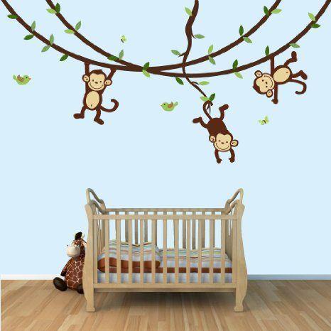 Amazon.com: Mono Pegatinas de pared para cuarto de niños del bebé o el sitio del niño: Bebé