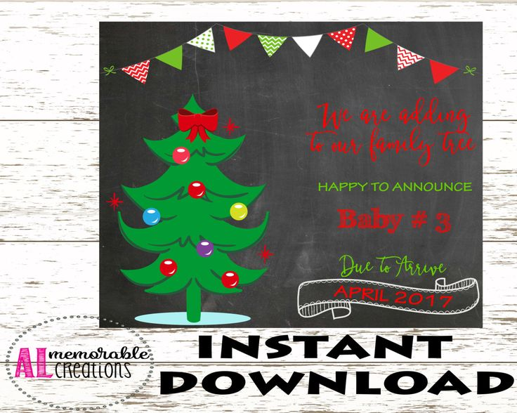 Christmas Pregnancy Announcement/Third Baby Announcement/Expecting Third Baby Sign/Dated April 2017/Pregnancy Chalkboard Photo Prop/Digital by ALMemorableCreations on Etsy
