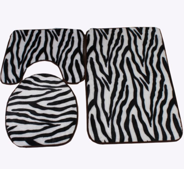 Zebra Bathroom Rug Set