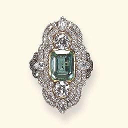 Belle Époque Emerald and Diamond Ring ca. 1900