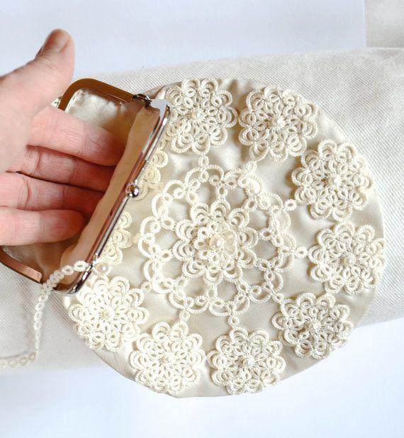 Monedero de la boda de seda, adornado con encaje tatted, bolso de encaje, bolso nupcial