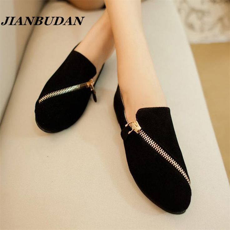 JIANBUDAN flat shoes women 2016 new spring shoes  casual and comfortable flat shoes size 35-40 Black / brown  Zipper rest shoes