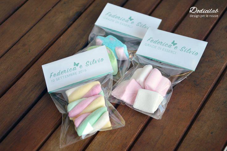 segnaposti personalizzati con marshmallow #segnaposti #wedding #matrimoniocreativo