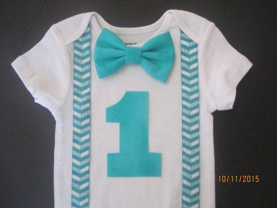 Grey white chevron shirt, turquoise chevron shirt, grey birthday outfit, boy birthday shirt, 1st birthday outfit, turquoise bow tie shirt
